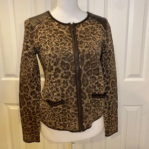 Chico's black and brown leopard sweater size 0